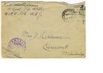 Allan Boyce Adams, F.A. U.S.R., U.S.P.O. 718 A.E.F., To Mrs. Joel Randolph Adams, Claremont, Mississippi. December 13, 1917. by Allan Boyce Adams