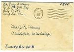 Rivers E. Adams, Camp Lee, Virginia, To Mrs. Joel Randolph Adams, Clarksdale, Mississippi. August 25, 1942.