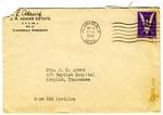 Rivers E. Adams, Clarksdale, Mississippi, To Mrs. Joel Randolph Adams, Baptist Hospital, Memphis, Tennessee. October 14, 1943.
