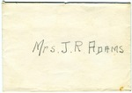From Allan Boyce Adams, Letter Fragment, To Mrs. Joel Randolph Adams. Undated.