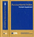 Accountants' index. Thirtieth supplement, January-December 1981, volume 1: A-L by Linda C. Pierce and Ameerican Institute of Certified Public Accountants