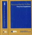 Accountants' index. Thirty-first supplement, January-December 1982, volume 1: A-L by Linda C. Pierce and American Institute of Certified Public Accountants