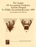 Supply of accounting graduates and the demand for public accounting recruits, 1995, for academic year 1993-94 by Rick Elam and Leticia B. Romeo