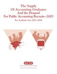 Supply of accounting graduates and the demand for public accounting recruits, 2005, for academic year 2003-2004 by Beatrice Sanders and Leticia B. Romeo