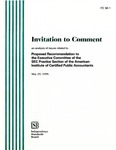 Invitation to comment: an analysis of issues related to proposed recommendation to the Executive Committee of the SEC Pactice Section of the American Institute of Certified Public Accountants, May 29, 1998; ITC 98-1