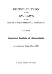 Constitution and By-Laws and Rules of Professional Conduct as Amended September, 1920