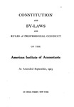 Constitution and By-Laws and Rules of Professional Conduct as Amended September, 1923