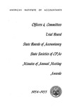 Officers and committees, trial board, state boards of accountancy, state societies of CPAs,minutes of annual meeting, awards, 1954-55