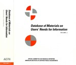 Database of materials on users' needs for information : from a study conducted by the Special Committee on Financial Reporting, Volume 2