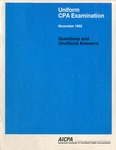Uniform CPA examination. Questions and unofficial answers, 1992 November by American Institute of Certified Public Accountants. Board of Examiners