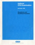 Uniform CPA examination. Questions and unofficial answers, 1995 November by American Institute of Certified Public Accountants. Board of Examiners