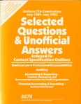 Uniform CPA examination, May 1989-May 1993. Selected questions and unofficial answers indexed to content specification outline; Selected questions and unofficial answers by James D. Blum, American Institute of Certified Public Accountants. Board of Examiners, and American Institute of Certified Public Accountants. Examinations Division