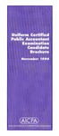Uniform certified public accountant examination candidate brochure, November 1996 by American Institute of Certified Public Accountants