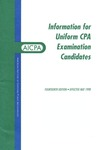 Information for uniform CPA examination candidates, effective May 1998 by American Institute of Certified Public Accountants