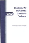 Information for uniform CPA examination candidates, effective November 1999 by American Institute of Certified Public Accountants
