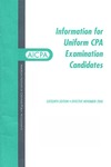 Information for uniform CPA examination candidates, effective November 2000 by American Institute of Certified Public Accountants