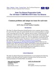 State Tax Return Preparation Guide For All States' CORPORATION State Tax Returns Common problems and unique tax issues for each state