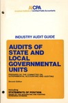 Audits of state and local governmental units (1978); Audit and accounting guide: