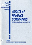 Audits of finance companies with conforming changes as of May 1, 1992; Audit and accounting guide:
