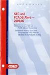 SEC and PCAOB alert - 2005/06; Audit risk alerts