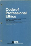 Code of professional ethics, Effective March 1, 1973 [1972];  Concepts of professional ethics [1972];  Rules of conduct [1972];  Interpretations of rules of conduct [1972]