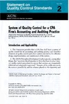 System of quality control for a CPA firm's accounting and auditing practice;  Statement on quality control standards 2