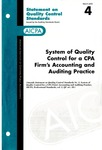 System of quality control for a CPA firm's accounting and auditing practice