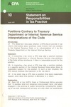 Positions contrary to Treasury Department or Internal Revenue Service interpretations of the code