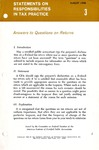 Answers to questions on returns; Statements on responsibilities in tax practice 03