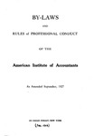 By-laws and rules of professional conduct of the American Institute of Accountants as amended September, 1927