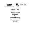 AICPA/CICA WebTrust program for online privacy, November 30, 2000, Version 3.0
