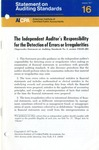 Independent auditor's responsibility for the detection of errors or irregularities