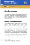 Client representations; Statement on auditing standards, 019