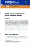 Quality control considerations for a firm of independent auditors