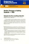 Omnibus statement on auditing standards -- 1983