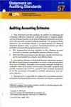 Auditing accounting estimates; Statement on auditing standards, 057