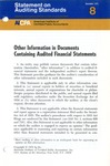 Other information in documents containing audited financial statements; Statement on auditing standards, 008
