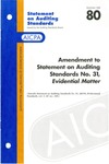 """Amendment to statement on auditing standards no. 31, """"evidential matter"""" by American Institute of Certified Public Accountants. Auditing Standards Executive Committee"""