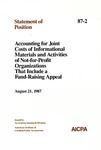 Accounting for joint costs of informational materials and activities of not-for-profit organizations that include a fund-raising appeal