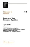 Inquiries of state insurance regulators: amendment to AICPA Audit and accounting guide Audits of property and liability insurance companies and AICPA industry audit guide Audits of stock life insurance companies