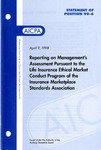Reporting on management's assessment pursuant to the life insurance ethical market conduct program of the Insurance Marketplace Standards Association