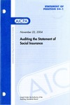 Auditing the statement of social insurance by American Institute of Certified Public Accountants. Auditing Standards Board