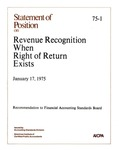 Statement of position on revenue recognition when right of return exists;  Revenue recognition when right of return exists