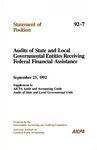 Audits of state and local governmental entities receiving federal financial assistance : supplement to AICPA Audit and accounting guide, Audits of state and local governmental units; Statement of position 92-7;
