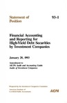 Financial accounting and reporting for high-yield debt securities by investment companies: January 28, 1993, amendment to AICPA Audit and accounting guide, Audits of investment companies