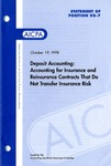 Deposit accounting: accounting for insurance and reinsurance contracts that do not transfer insurance risk