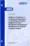 Guidance to practitioners in conducting and reporting on an agreed-upon procedures engagement to assist management in evaluating the effectiveness of its corporate compliance program