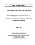 Proposed statement of position : financial highlights of separate accounts : an amendment to the audit and accounting guide audits of investment companies;Financial highlights of separate accounts : an amendment to the audit and accounting guide audits of investment companies by American Institute of Certified Public Accountants. Accounting Standards Executive Committee