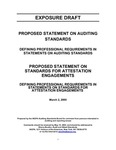 Proposed statement on auditing standards : Defining professional requirements in statements on auditing standards;Proposed statement on standards for attestation engagements : Defining professional requirements in statements on standards for attestation engagements;Defining professional requirements in statements on auditing standards;Defining professional requirements in statements on standards for attestation engagements; Exposure draft (American Institute of Certified Public Accountants), 2005, March 2 by American Institute of Certified Public Accountants. Auditing Standards Board