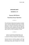 Proposed APB opinion : Translating foreign operations;Translating foreign operations